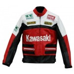 Kawasaki Red Motorcycle Biker Racing Leather Jacket